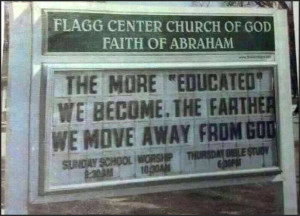 Does faith fail with education?